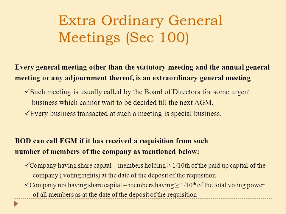 Extra Ordinary General Meetings (Sec 100)