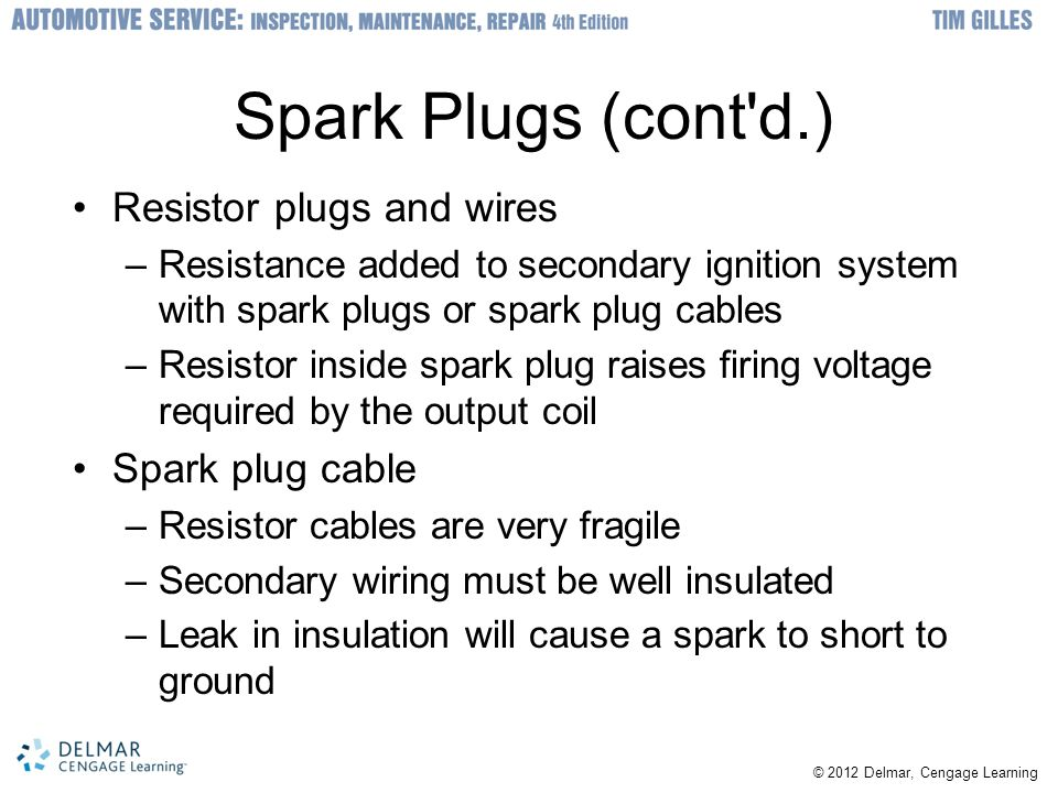 Spark Plugs (cont d.) Resistor plugs and wires Spark plug cable