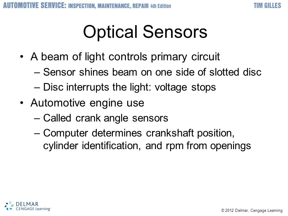Optical Sensors A beam of light controls primary circuit