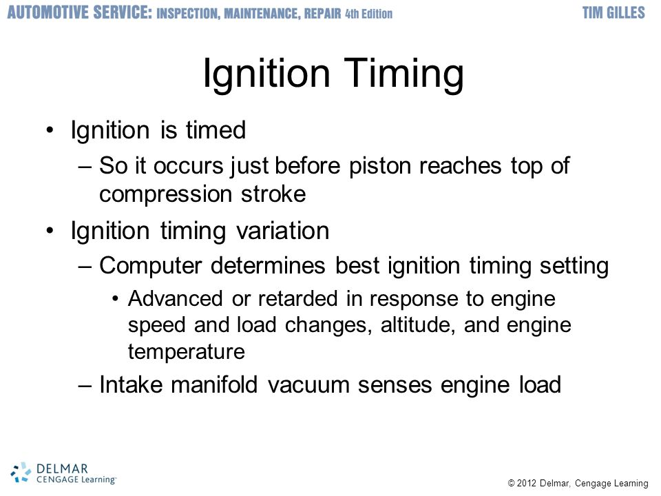 Ignition Timing Ignition is timed Ignition timing variation
