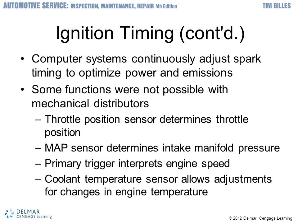 Ignition Timing (cont d.)