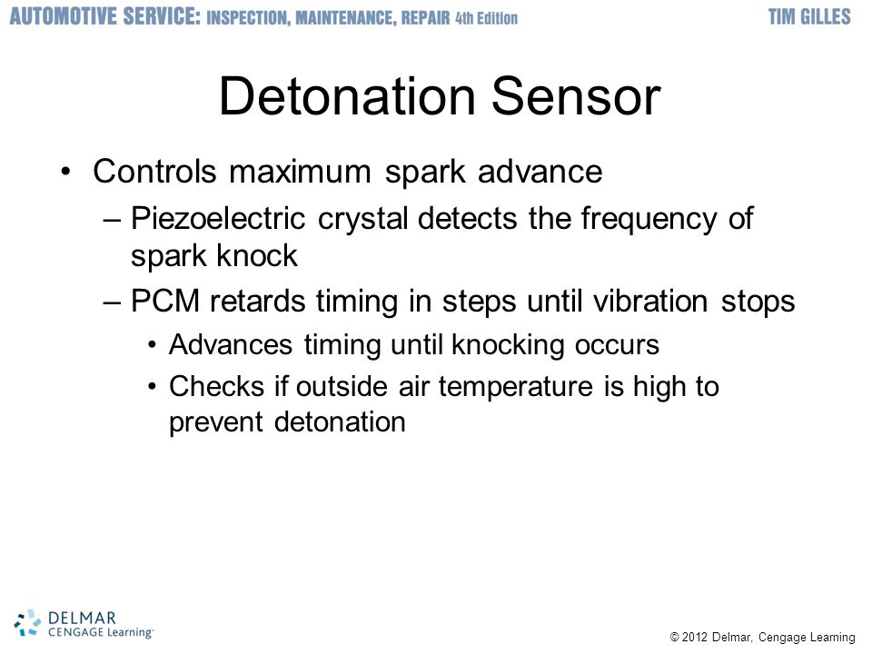 Detonation Sensor Controls maximum spark advance