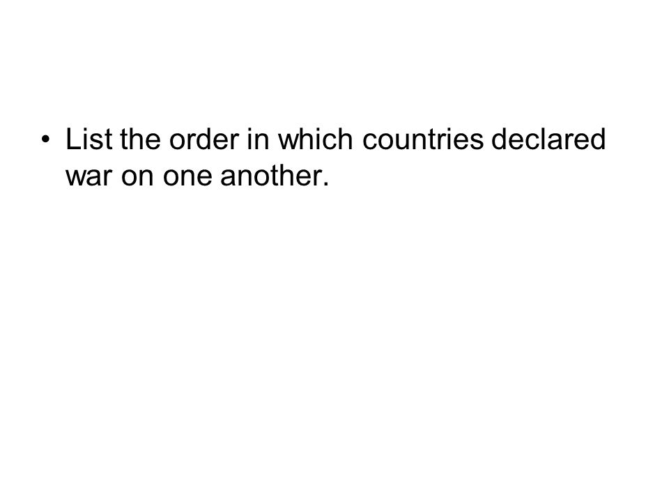 List the order in which countries declared war on one another.