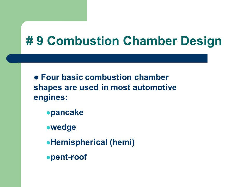 # 9 Combustion Chamber Design