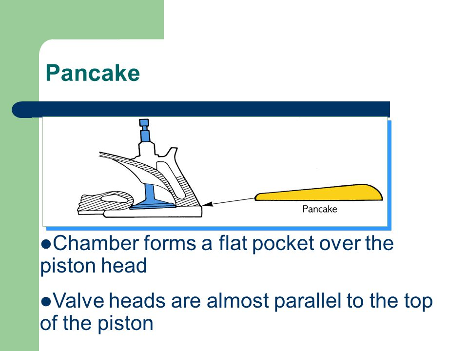Pancake Chamber forms a flat pocket over the piston head