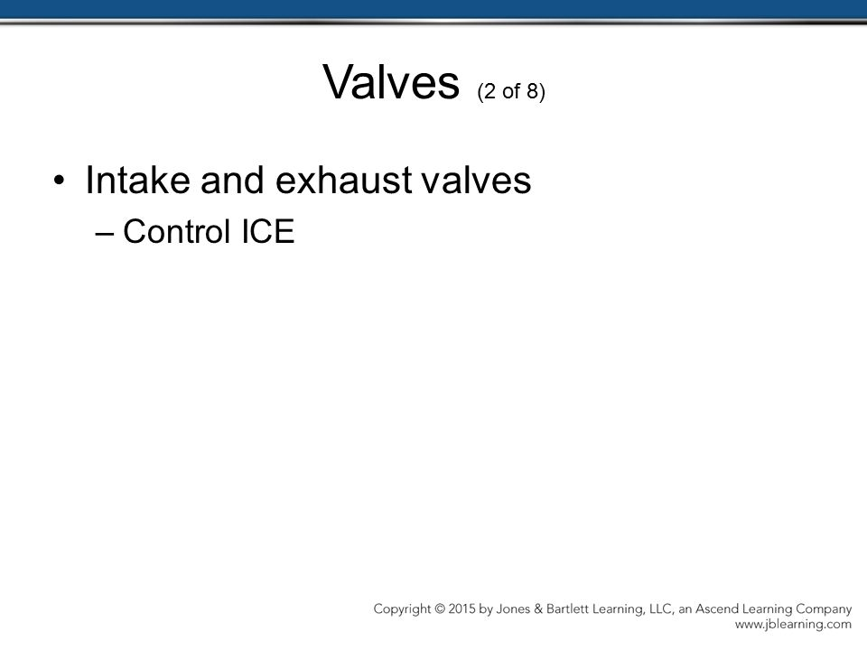 Valves (2 of 8) Intake and exhaust valves Control ICE