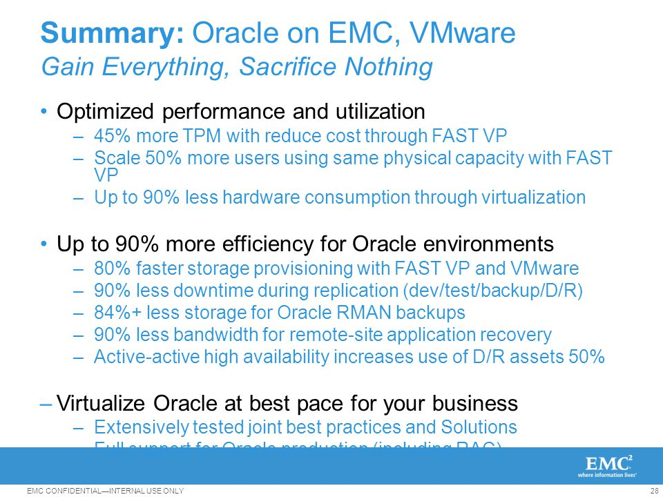 Best Practices for Virtualizing Oracle with EMC and VMware -