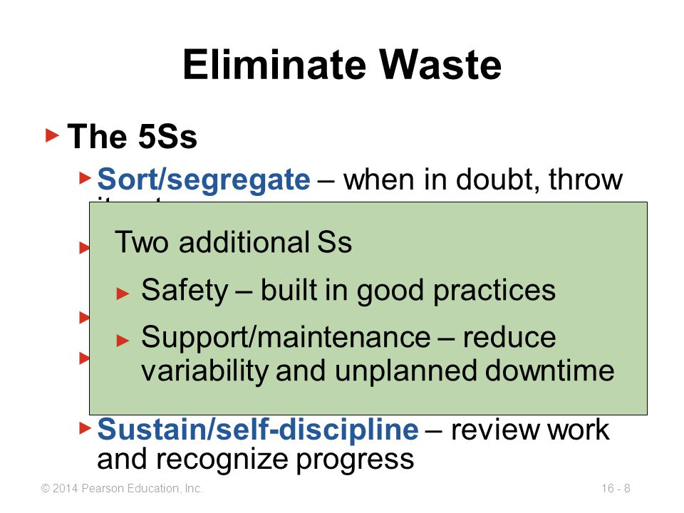 Eliminate Waste The 5Ss Sort/segregate – when in doubt, throw it out