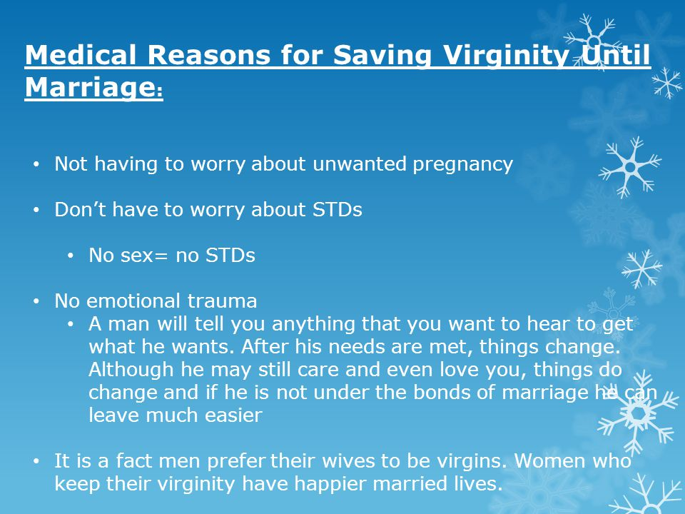 Medical Reasons for Saving Virginity Until Marriage: