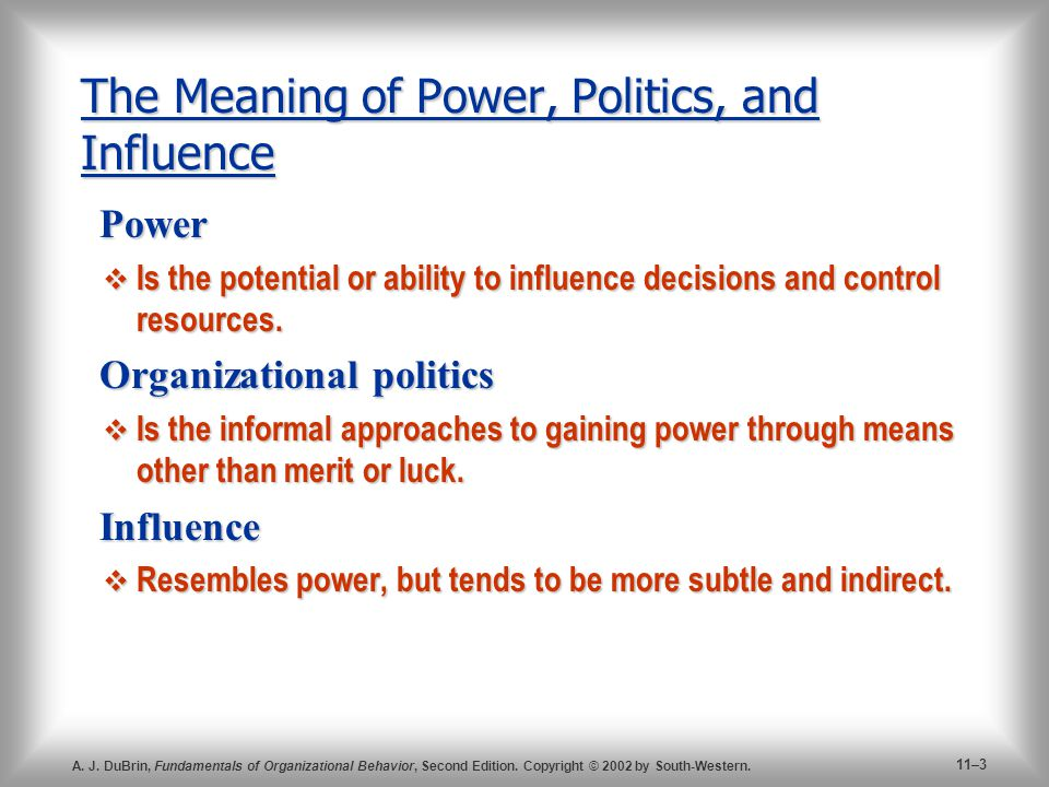 difference between power and politics in organisational behaviour