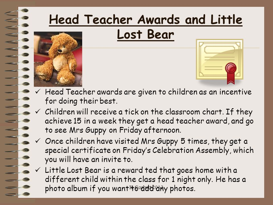 Head Teacher Awards and Little Lost Bear