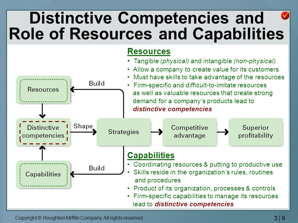 Distinctive Competencies and Role of Resources and Capabilities