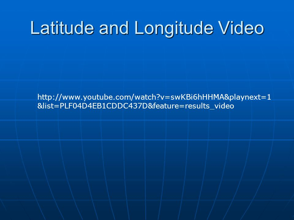 Latitude and Longitude Video