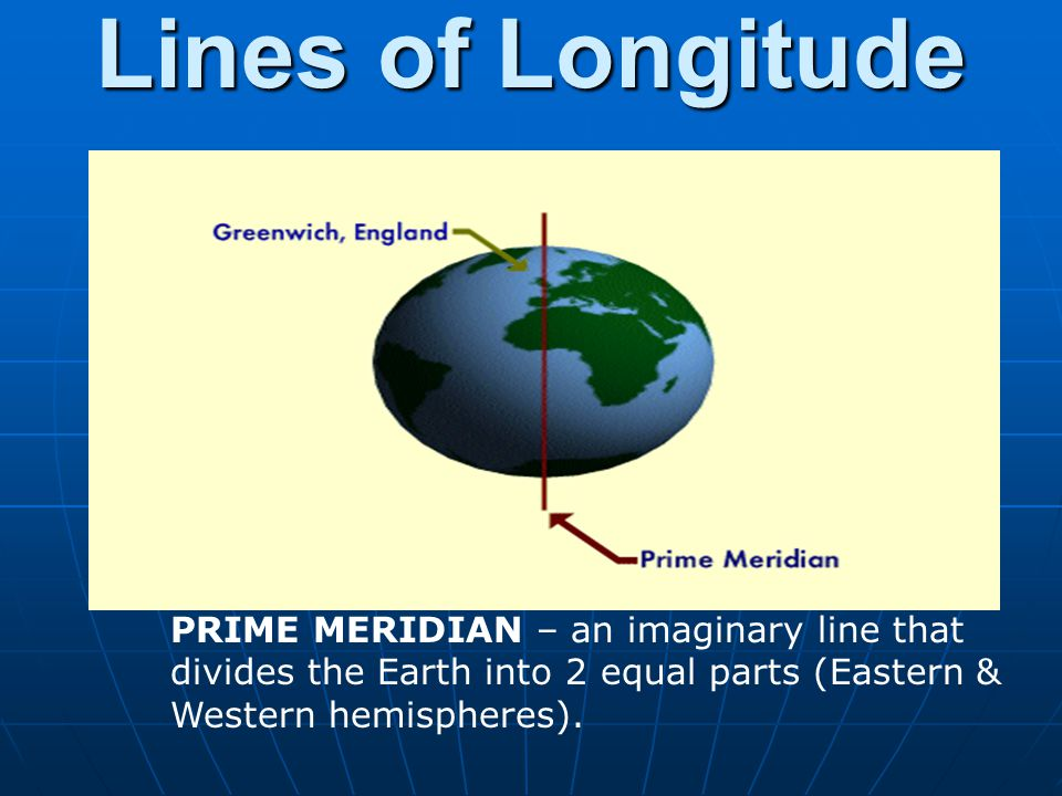 Lines of Longitude PRIME MERIDIAN – an imaginary line that divides the Earth into 2 equal parts (Eastern & Western hemispheres).