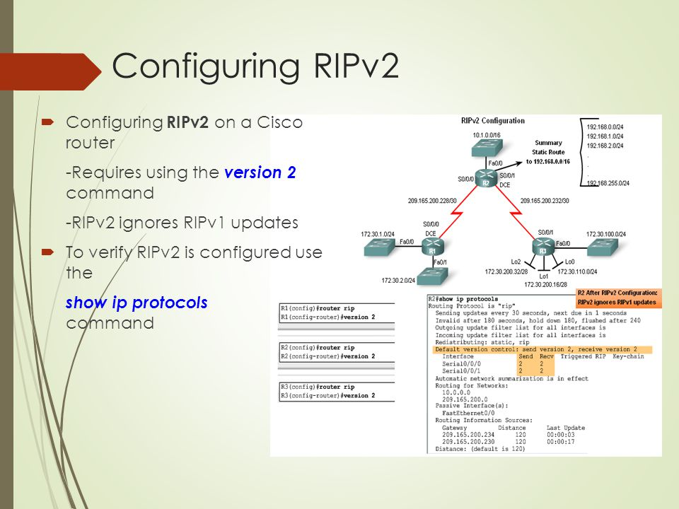 Configuring RIPv2 Configuring RIPv2 on a Cisco router