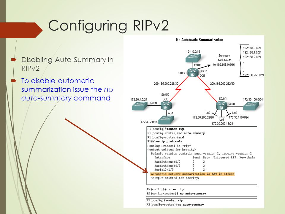 Configuring RIPv2 Disabling Auto-Summary in RIPv2