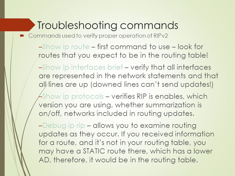 Troubleshooting commands