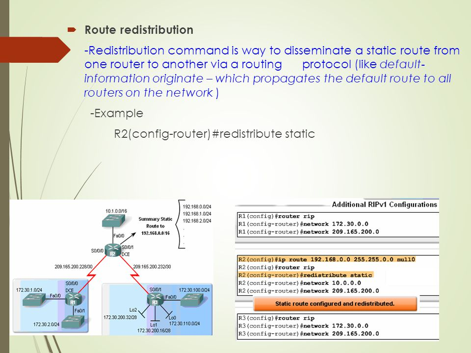 Route redistribution
