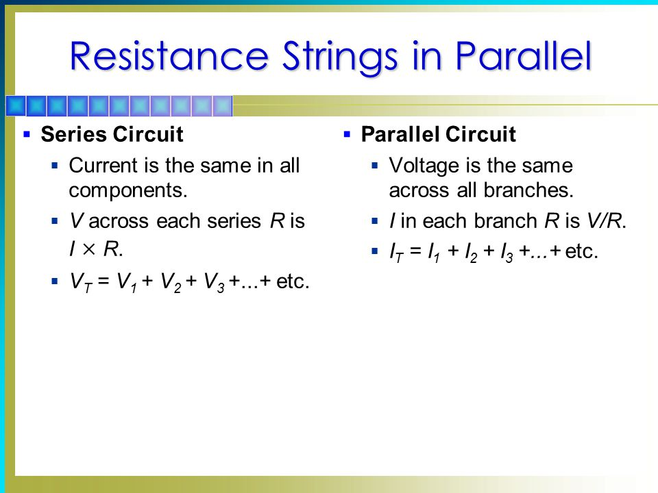 Resistance Strings in Parallel