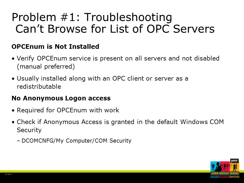 WW TSS-12 Understanding and Troubleshooting OPC Connectivity
