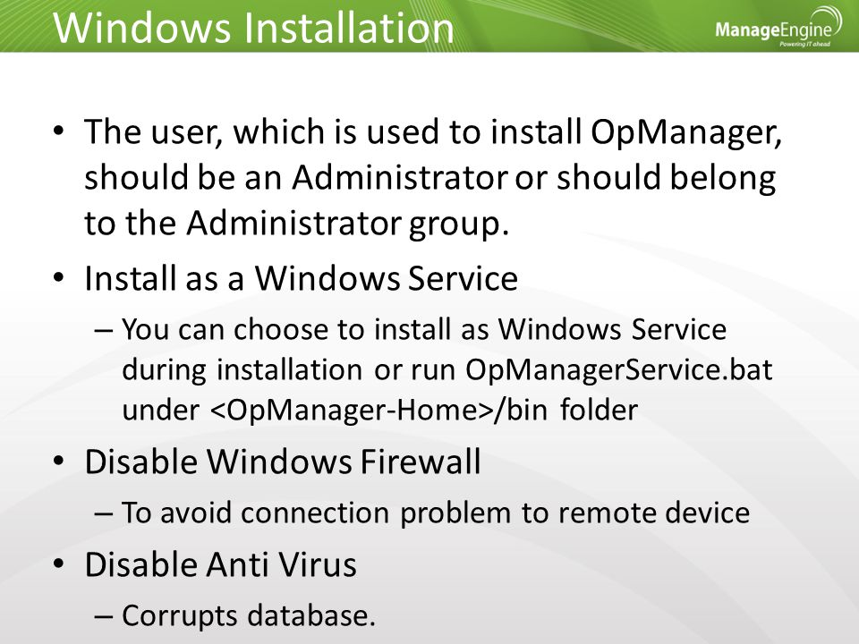 Uninstall Opmanager