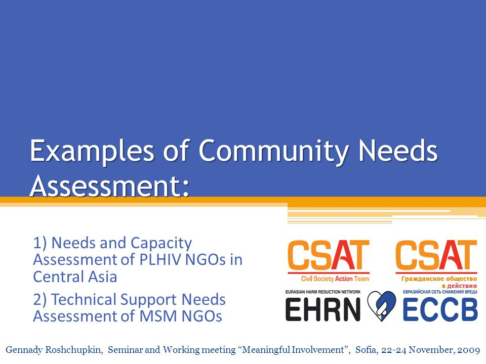 Examples of Community Needs Assessment: