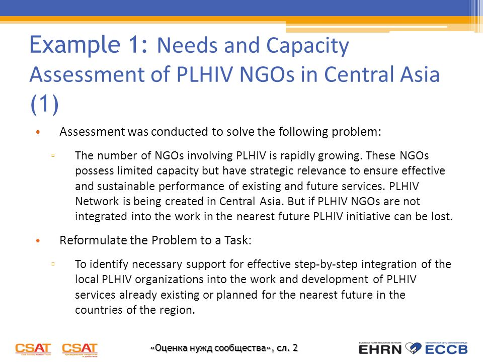 Example 1: Needs and Capacity Assessment of PLHIV NGOs in Central Asia (1)