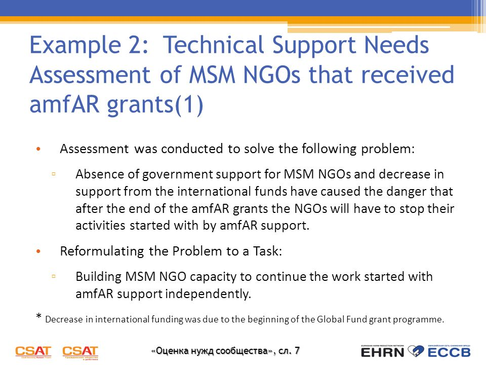 Example 2: Technical Support Needs Assessment of MSM NGOs that received amfAR grants(1)