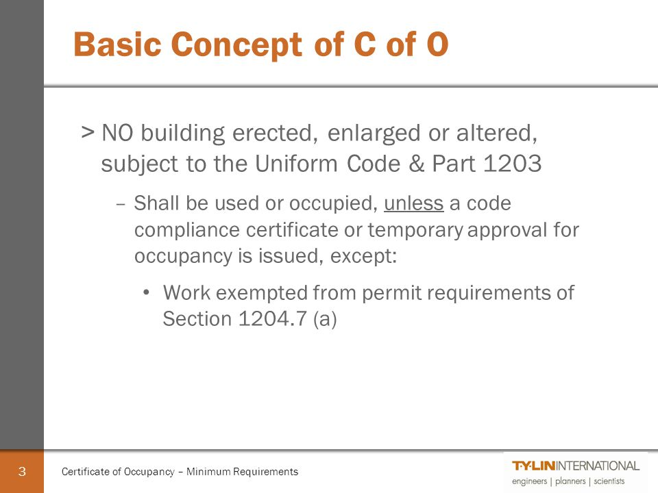 Certificate of Occupancy - Minimum Requirements - ppt video online ...