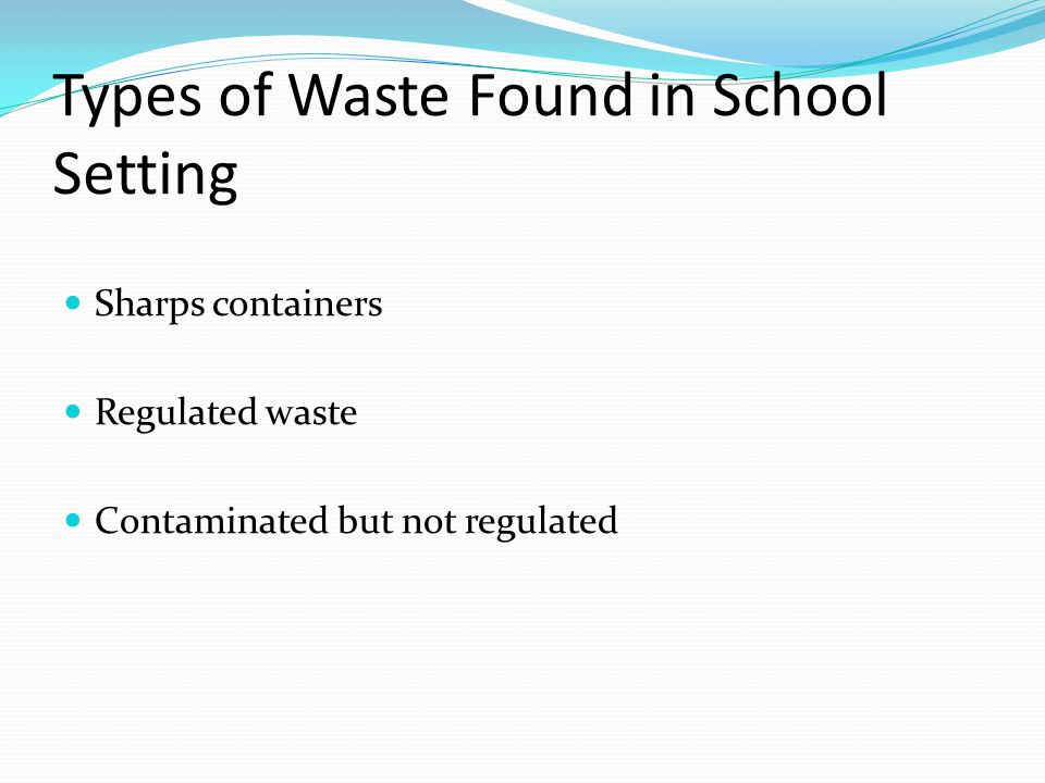 Types of Waste Found in School Setting