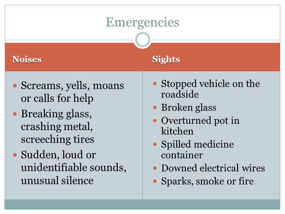 Emergencies Screams, yells, moans or calls for help
