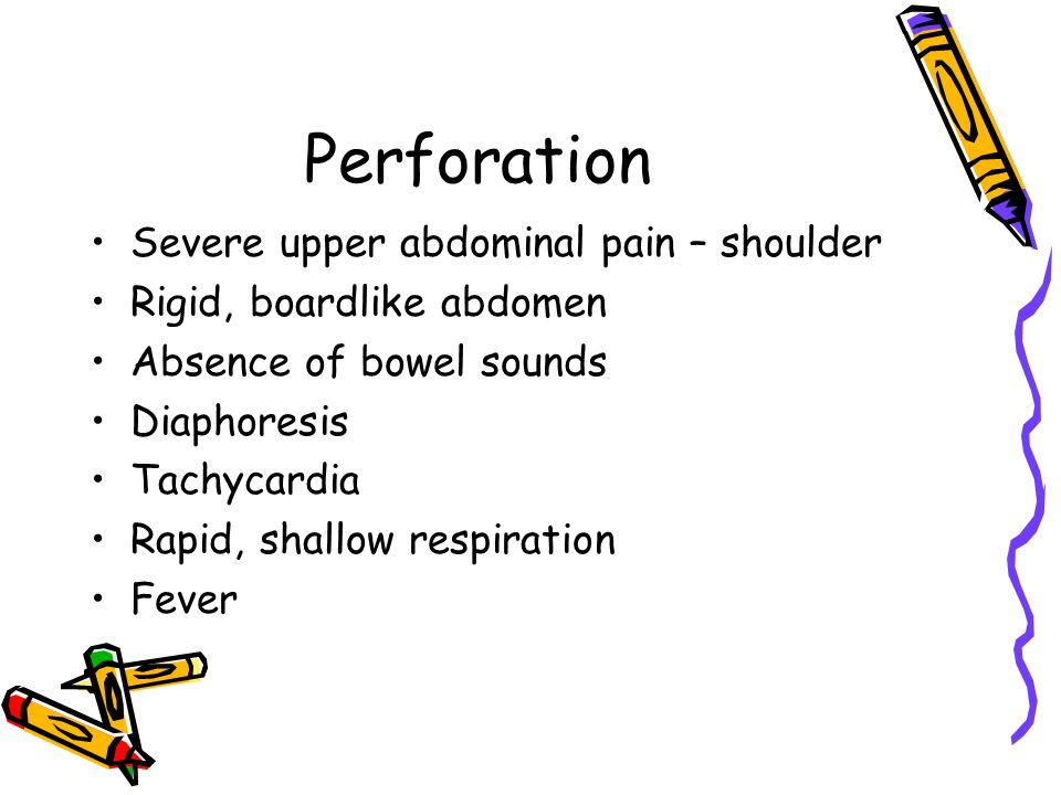 Perforation Severe upper abdominal pain – shoulder