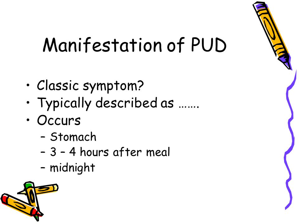 Manifestation of PUD Classic symptom Typically described as …….