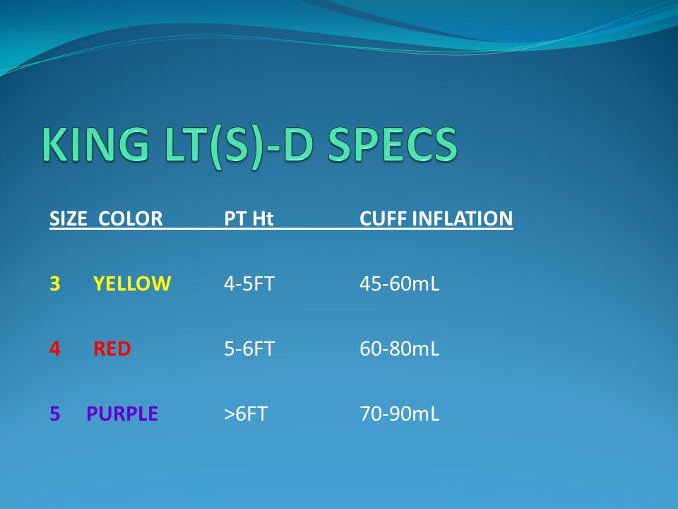 KING LT(S)-D SPECS SIZE COLOR PT Ht CUFF INFLATION