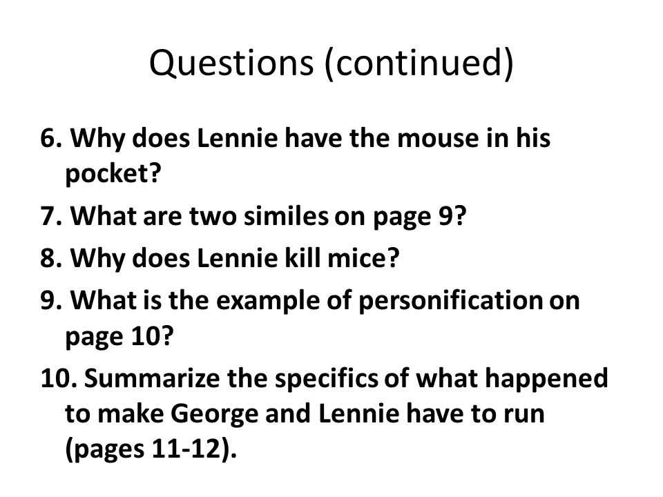 Of Mice And Men Questions Ppt Download