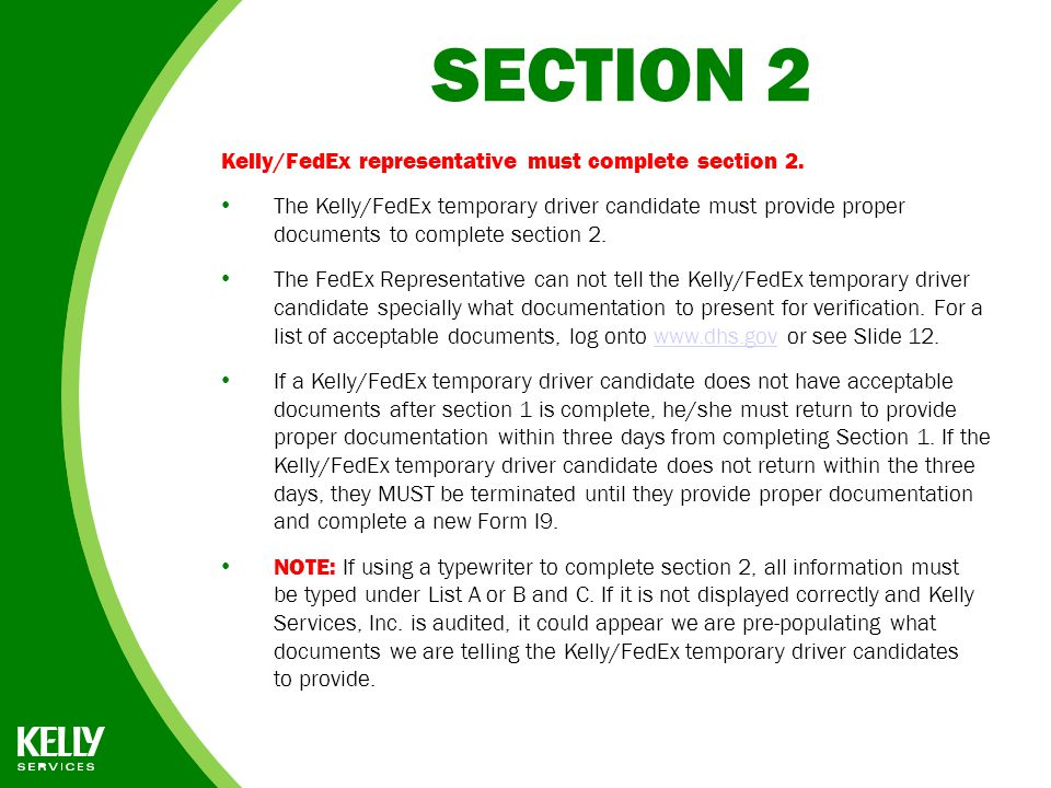 Form I 9 Instructions For Fedex Representatives Ppt Download