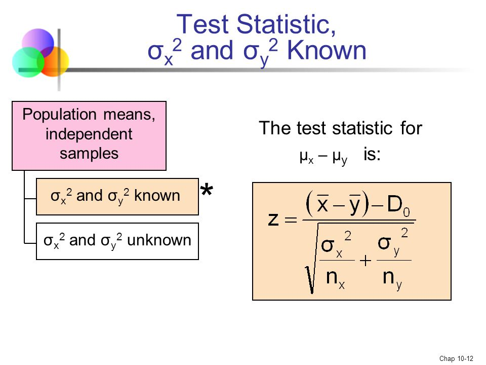 Test Statistic, σx2 and σy2 Known