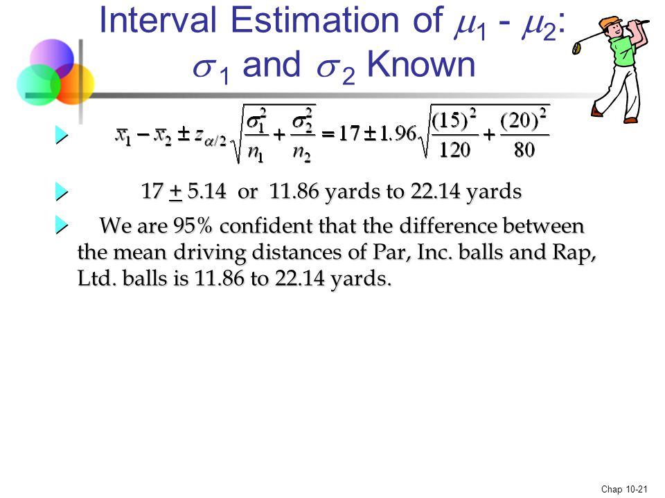 Interval Estimation of 1 - 2:  1 and  2 Known
