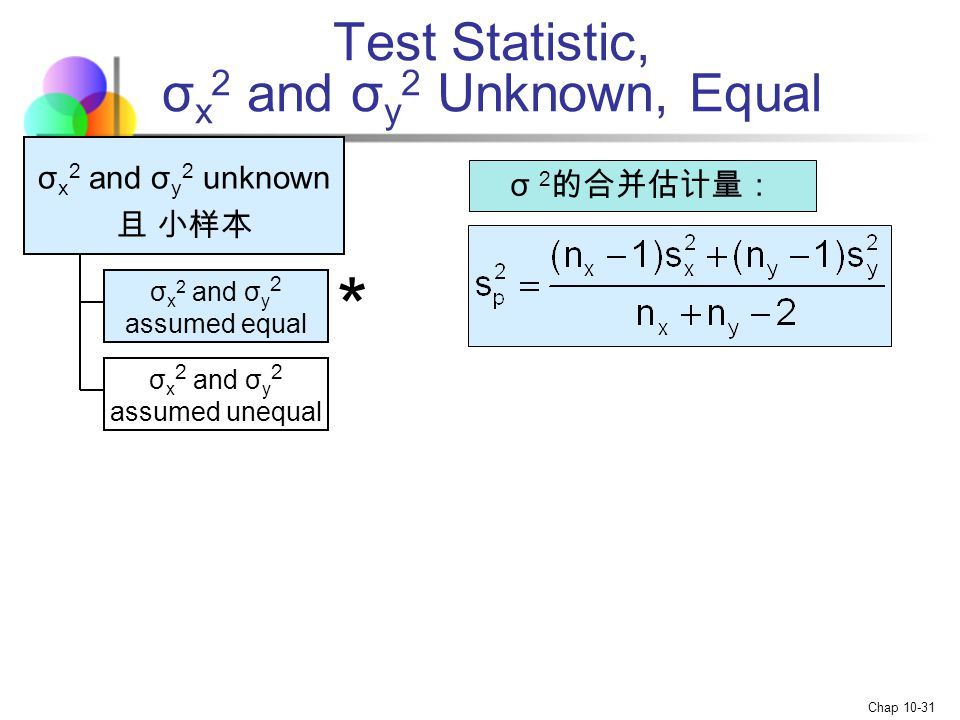 Test Statistic, σx2 and σy2 Unknown, Equal