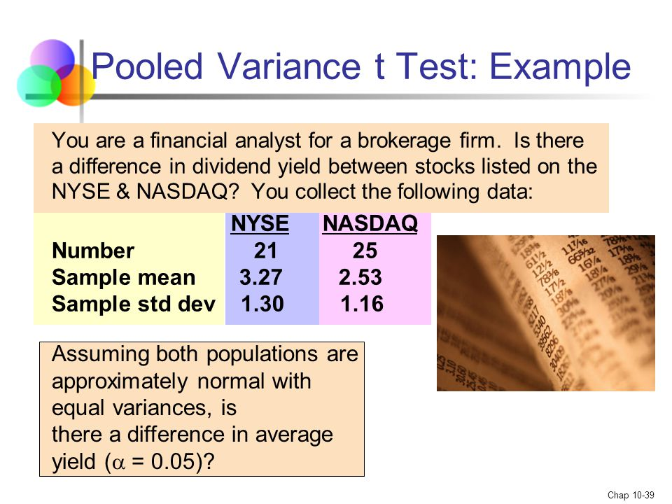 Pooled Variance t Test: Example
