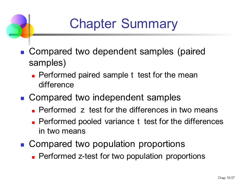 Chapter Summary Compared two dependent samples (paired samples)