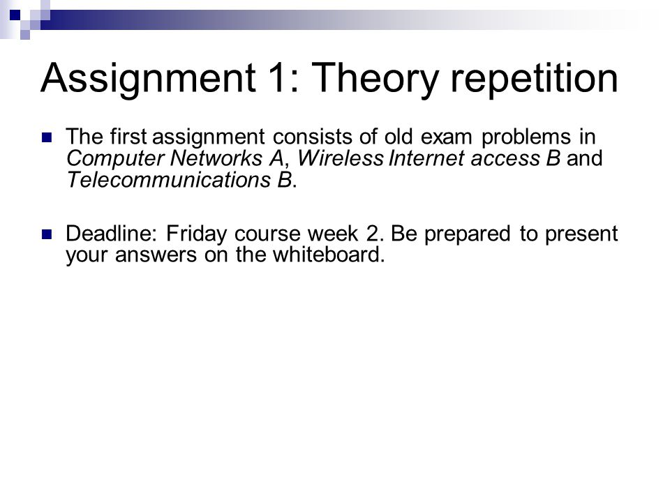 Assignment 1: Theory repetition