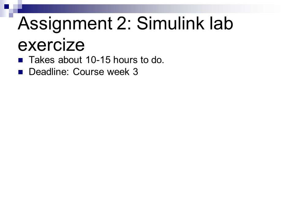 Assignment 2: Simulink lab exercize