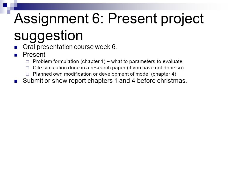 Assignment 6: Present project suggestion
