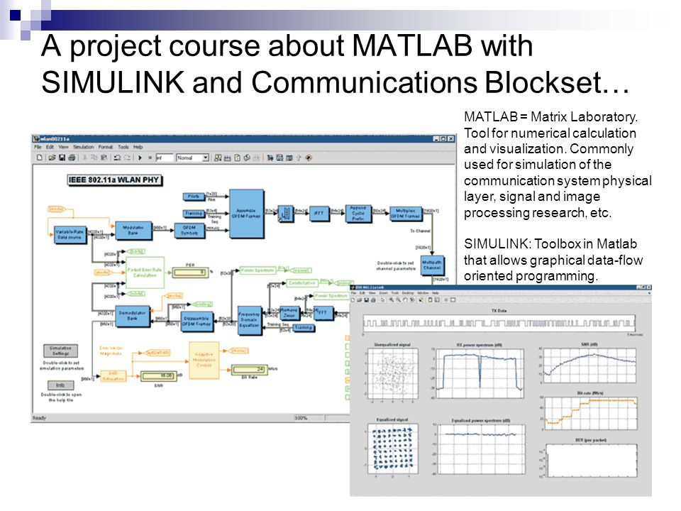 A project course about MATLAB with SIMULINK and Communications Blockset…