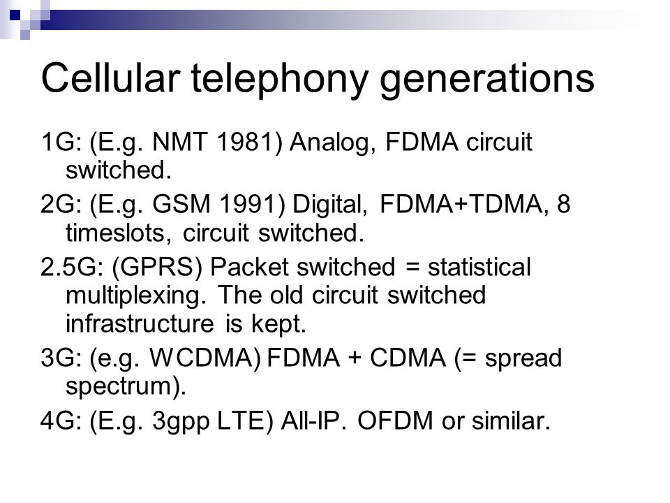 Cellular telephony generations