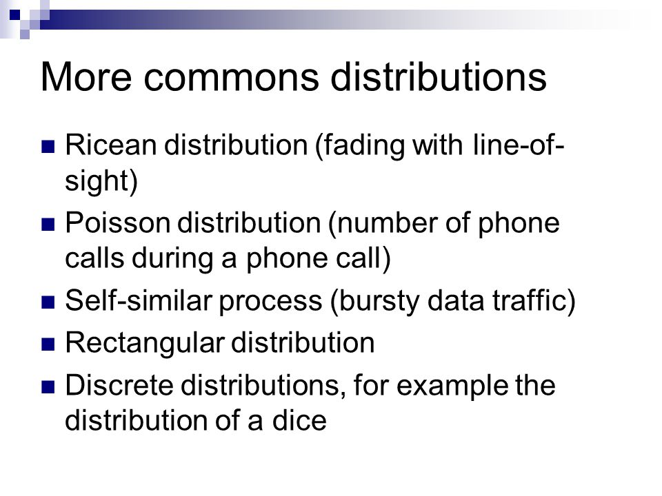 More commons distributions