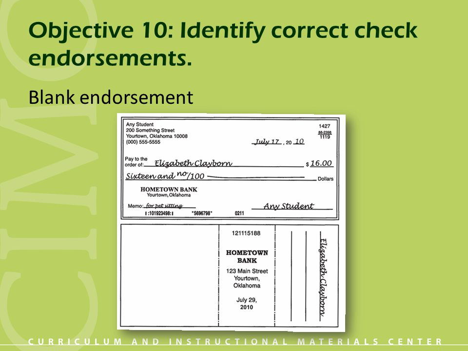 Objective 10: Identify correct check endorsements.