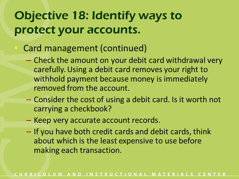 Objective 18: Identify ways to protect your accounts.