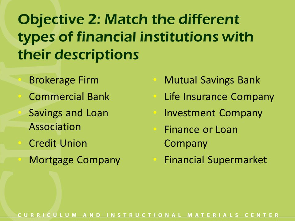Objective 2: Match the different types of financial institutions with their descriptions